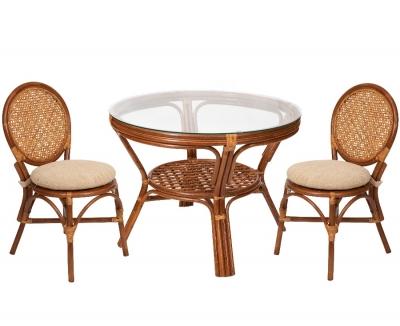Комплект обеденный стол + 2 стула Коньяк