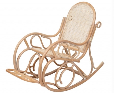 Кресло-качалка из ротанга 05/10B с подножкой белый