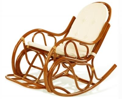 Кресло-качалка из ротанга 05/04В с подушкой коньяк