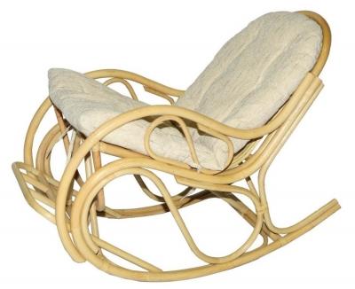 Кресло-качалка из ротанга 05/04В с подушкой белый