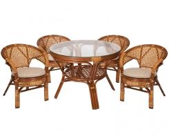 Комплект обеденный стол + 4 кресла Коньяк