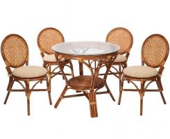 Комплект обеденный стол + 4 стула Коньяк
