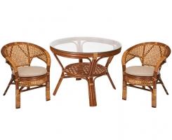 Комплект обеденный стол + 2 кресла Коньяк