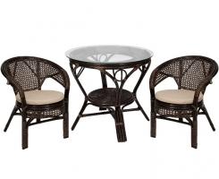 Комплект обеденный стол + 2 кресла Шоколад