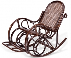Кресло-качалка из ротанга 05/10B с подножкой шоколад
