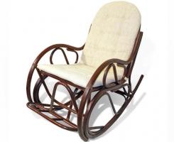 Кресло-качалка из ротанга 05/04В с подушкой шоколад
