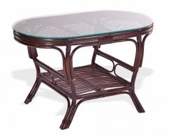 Стол со стеклом из ротанга 02/15A-ov шоколад