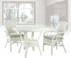 ALEXA комплект обеденный, белый (стол+стул с подлокотником 2шт)
