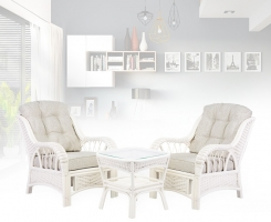 ALEXA комплект кресло 2шт с столом кофейным квадратным, белый