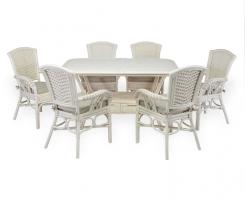ALEXA комплект обеденный стол овальный со стульями с подлокотником (6 шт), белый