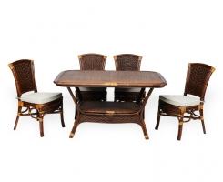 ALEXA комплект обеденный стол овальный со стульями без подлокотников (4 шт), орех