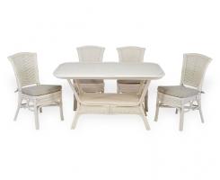 ALEXA комплект обеденный стол овальный со стульями без подлокотников (4 шт), белый
