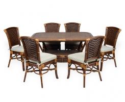 ALEXA комплект обеденный стол овальный со стульями без подлокотников (6 шт), орех