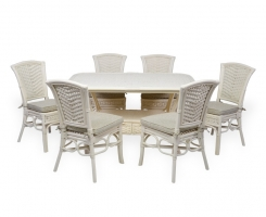 ALEXA комплект обеденный стол овальный со стульями без подлокотников (6 шт), белый