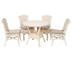 ALEXA комплект обеденный, белый (стол+стул без подлокотника 4шт)