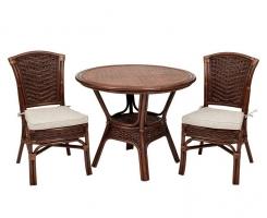 ALEXA комплект обеденный, орех (стол+стул без подлокотника 2шт)