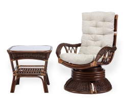 ALEXA комплект кресло вращающееся со столом, орех