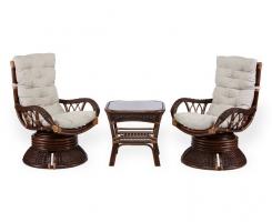 ALEXA комплект два кресла вращающихся со столом, орех