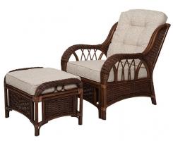 ALEXA комплект кресло для отдыха с пуфом, орех