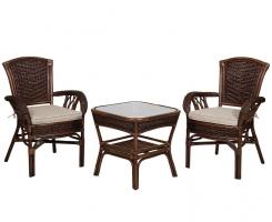 ALEXA комплект стол кофейный квадратный со стульями с подлокотником 2 шт, орех
