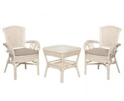 ALEXA комплект стол кофейный квадратный со стульями с подлокотником 2 шт, белый