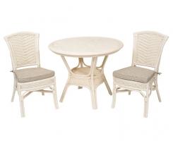 ALEXA комплект обеденный, белый (стол+стул без подлокотника 2шт)