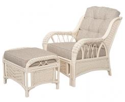 ALEXA комплект кресло для отдыха с пуфом, белый