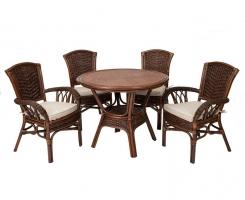 ALEXA комплект обеденный, орех (стол+стул без подлокотников 2 шт+стул с подлокотниками 2 шт)