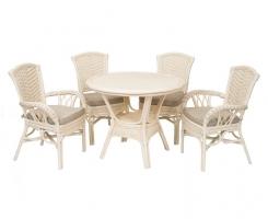 ALEXA комплект обеденный, белый (стол+стул без подлокотника 2шт+ стул с подлокотниками 2 шт)