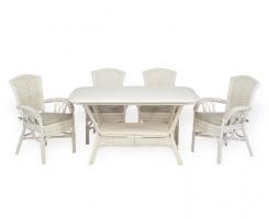 ALEXA комплект обеденный стол овальный со стульями с подлокотником (4 шт), белый