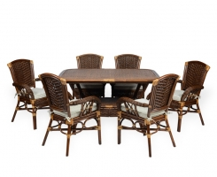 ALEXA комплект обеденный стол овальный со стульями с подлокотником (6 шт), орех