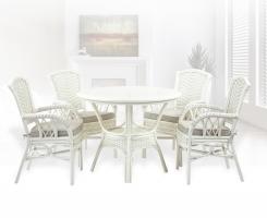 ALEXA комплект обеденный, белый (стол+стул с подлокотником 4шт)